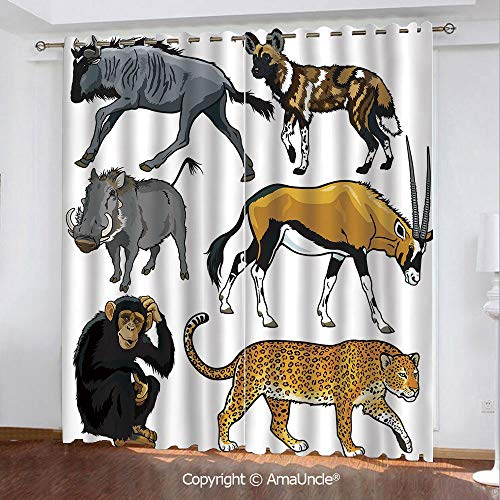 3D Printed Blackout Curtains,Zoo,Collection of Cartoon Style Wild Animals of Africa Fauna Habitat Savannah Wilderness Decorative,Multicolor Pattern,W84.3xL84.3 Inches,Window Treatments for Bedroom