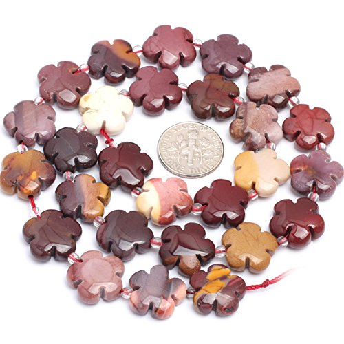 15mm Natural Semi Precious Flower Mookaite Jasper Gemstone Beads for Jewelry Making Strand 15