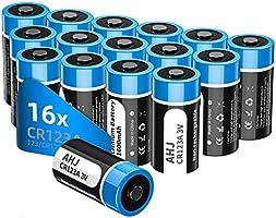 AHJ Lot de 16 Piles CR123A Lithium 3V 1600mAh Stockage de 10 Ans Piles CR17345 Jetables Puissantes [PAS pour ARLO], pour...