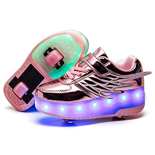 (Ehauuo Girls Roller Shoes Kids Sparkling Wheels Shoes Boys Light up Roller Skates Sneakers Rechargeable Flashing Sneakers for Gift (1.5 M US Little Kid, B-Pink))