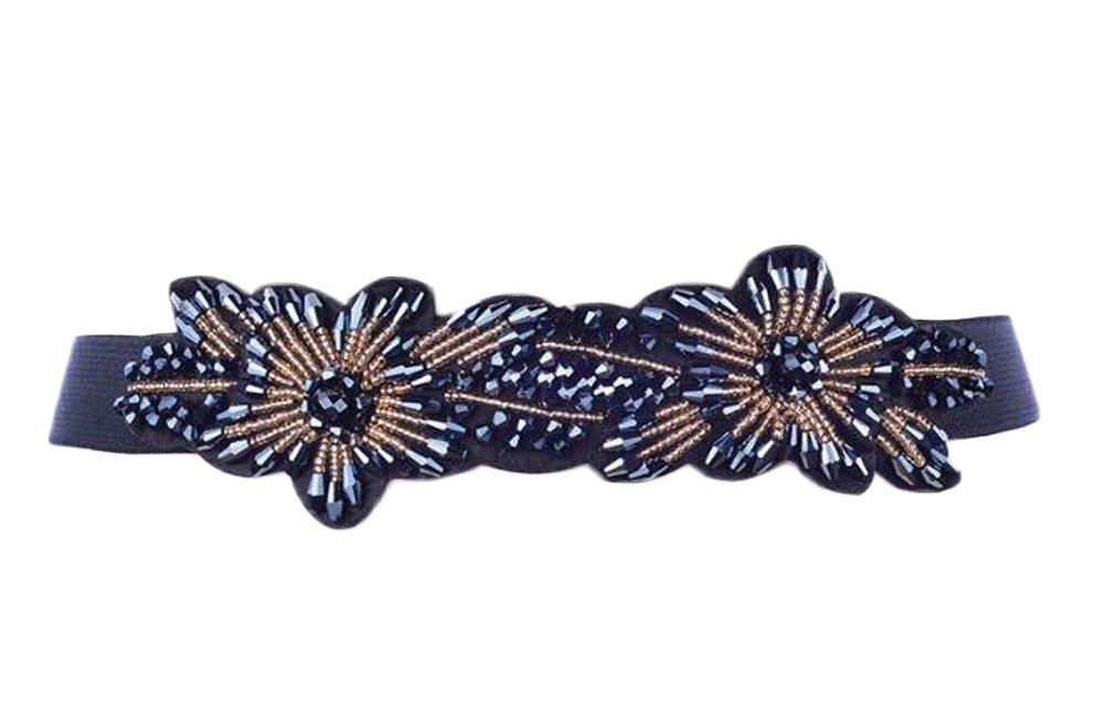Nanxson(TM) Women's Classic Elegant Wide Elastic Waist Band with Decorative Rhinestone Beads Flower Waist Belt PDW0131 (navy)