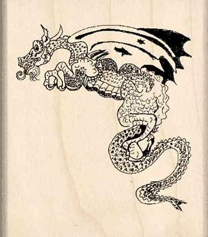 Flame Dragon Hero Arts K6430 Woodblock Stamps