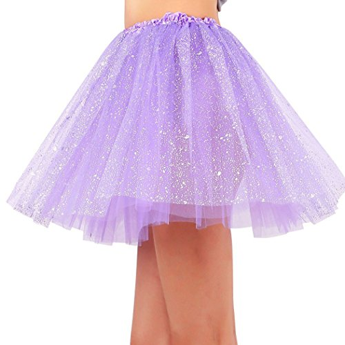 Womens 3 Layered Pastel Colored Fairy Princess Elastic Tutu Tulle Skirt Purple -