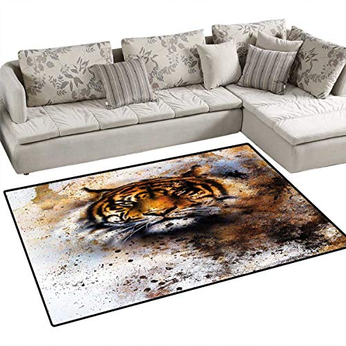 (Tiger Girls Rooms Kids Rooms Nursery Decor Mats Wild Beast Looking Straight into The Eyes of The Viewer Angry Looking Panthera Tigris Bath Mats for Floors 48