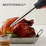 Kaycrown Stainless Steel Turkey Baster With BBQ/Grill Basting Brush, Commercial Grade Quality FDA Rubber Bulb Including Flavor Needle And Cleaning Brush For Easy Clean Up 17 FOOD SAFETY MATERIAL: Both of the Turkey baster and basting brush are made of food grade stainless steel, it won't melt, won't bend, and will last for many years to come. Bristles are made of FDA & BPA-FREE Silicone ( high heat resistant to 450°F/230°C ). BASTING BRUSH: Included an extra long basting brush, to get those juices into every crack and crevice of your succulent roast meats, for a more even distribution of flavor. The bristles will not melt, break or shed into your food! Picking bristles from your food will be a thing of the past! Stainless steel injector needle and cleaning brush included, Add more punch to your meat creations with our flavor injector. Simply screw onto the baster to transform it into a super handy marinade and sauce injector. Add an explosion of flavor to every bite!