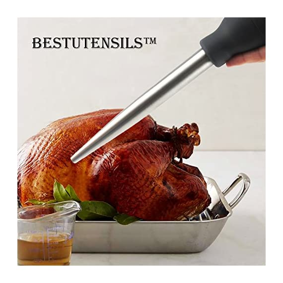 Kaycrown Stainless Steel Turkey Baster With BBQ/Grill Basting Brush, Commercial Grade Quality FDA Rubber Bulb Including Flavor Needle And Cleaning Brush For Easy Clean Up 8 FOOD SAFETY MATERIAL: Both of the Turkey baster and basting brush are made of food grade stainless steel, it won't melt, won't bend, and will last for many years to come. Bristles are made of FDA & BPA-FREE Silicone ( high heat resistant to 450°F/230°C ). BASTING BRUSH: Included an extra long basting brush, to get those juices into every crack and crevice of your succulent roast meats, for a more even distribution of flavor. The bristles will not melt, break or shed into your food! Picking bristles from your food will be a thing of the past! Stainless steel injector needle and cleaning brush included, Add more punch to your meat creations with our flavor injector. Simply screw onto the baster to transform it into a super handy marinade and sauce injector. Add an explosion of flavor to every bite!