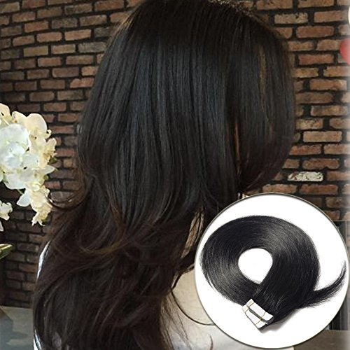 Tape in Human Hair Extension Jet Black(#1) 14inch Long Straight 100% Remy Human Hair Bonding Double Sided Tape Seamless Skin Weft Hair 40pcs/100g by Lady Fashion Mall