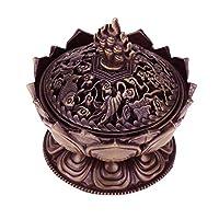 Secret for Longevity Copper Bronze Antique Chinese Asian Style Lotus Flower Incense Burner Pot w/Stick Cone Coil Holder w/White Sage Cones Zen Buddha Buddhist Meditation Decor Gift Set