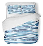 Emvency 3 Piece Duvet Cover Set Brushed Microfiber Fabric Breathable Watercolor Sea Underwater with Fish Blue School Animal Aqua Aquarium Cunning Bedding Set with 2 Pillow Covers Full/Queen Size