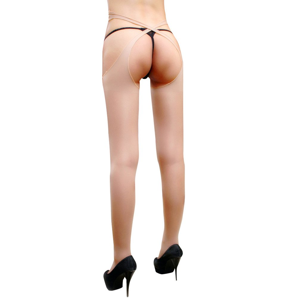FILOL Sexy Thigh High Stockings for Women for Sex Fishnet Tights Suspender Stockings (Khaki)