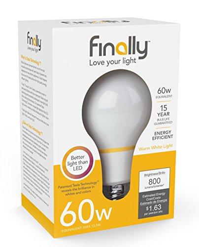 New Finally Light Bulb, 60 watt Equivalent A19, Single Light Bulb,  Long Lasting, Warm White, Non-LED, Energy Efficient, with Tesla Technology