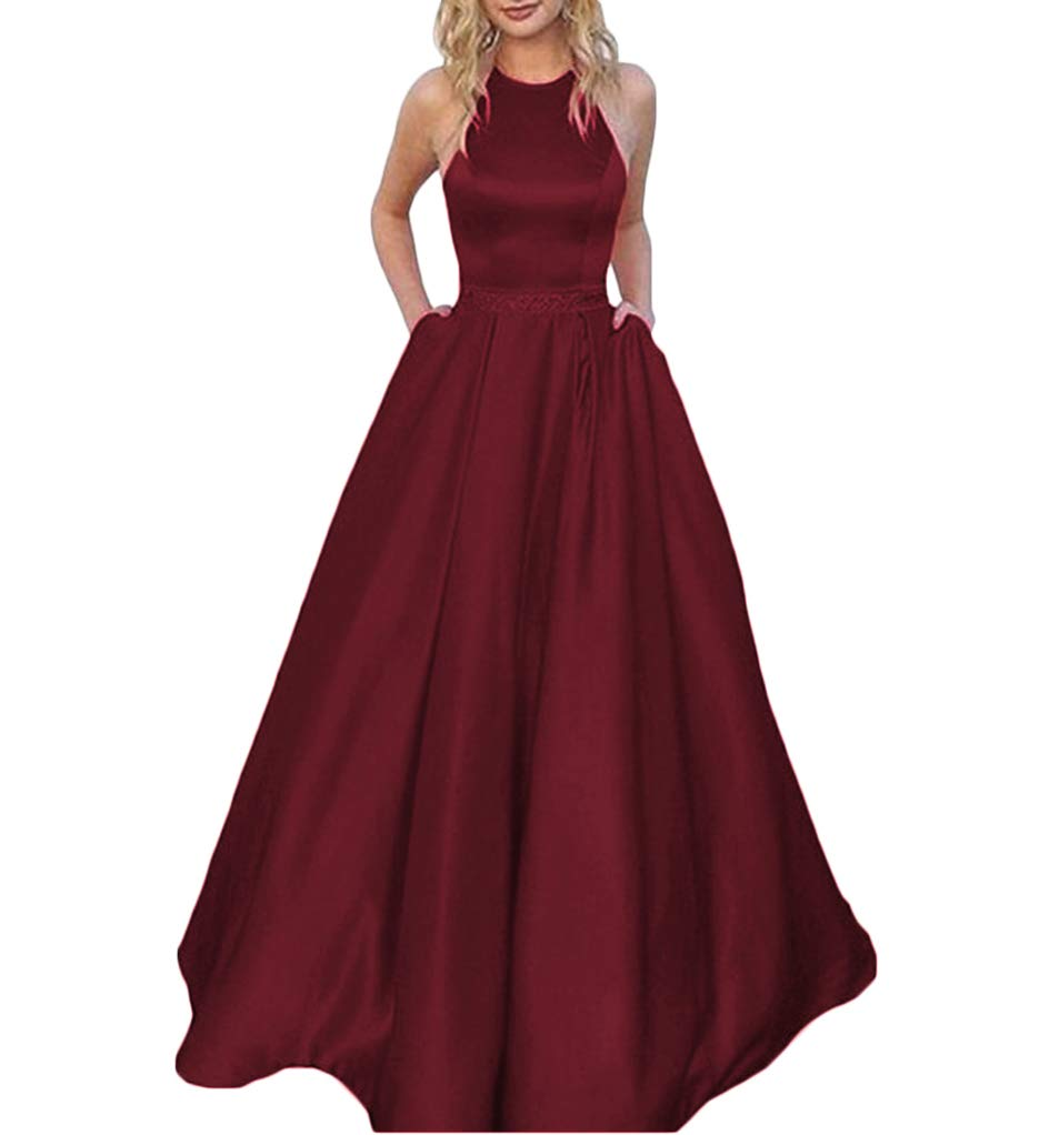 c4e8402c98ed Tsbridal Women's Halter Lace Up Bridesmaid Dresses Long Formal Gown with  Pockets Wedding Party Dress Burgundy US 18W