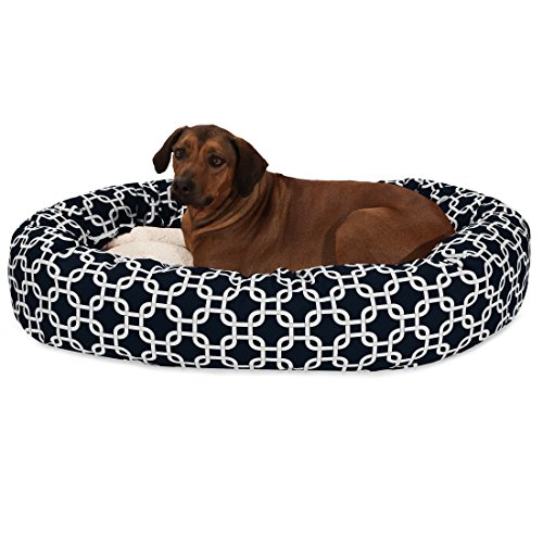 Bagel Bed 52 (Majestic Pet 52 Inch Black Links Sherpa Bagel Dog Bed)