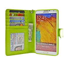 Navor Samsung Galaxy Note 3 Book Style Folio Wallet Leather Case with Money Pocket, Card & ID Window Slots with Clear Screen Protector Included (Grass)