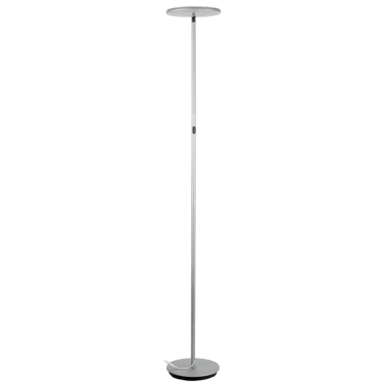 Brightech Sky Flux - Modern LED Torchiere Floor Lamp for Living Rooms & Bedrooms - Adjustable Warm to Cool White - Tall Pole, Standing Office Light - Bright, Minimalist & Contemporary Uplight - Silver