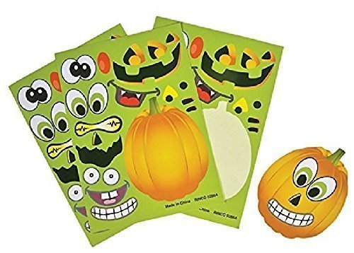 Rhode Island Novelty 097138760951, Make a Pumpkin Jack-O-Lantern Halloween Sticker Sheets, Multicolor, One Size ()