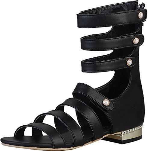 Damen Sandalen Toe 2 Reißverschluss Schuhe Salco 5CM Open Calaier Schwarz Blockabsatz d68TqtwdO