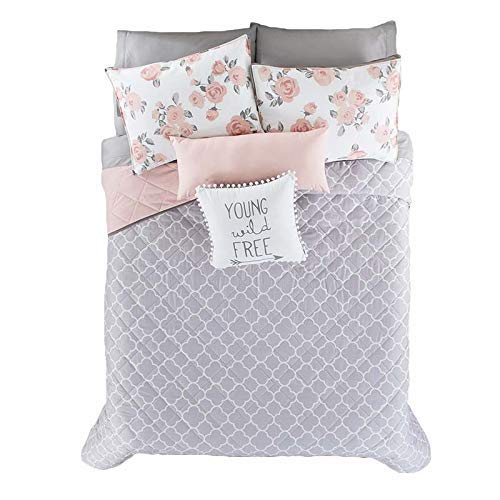 (LIMITED EDITION FREE PINK/GRAY TEENS GIRLS CUTE COLLECTION REVERSIBLE COMFORTER SET 5 PCS FULL/QUEEN SIZE)
