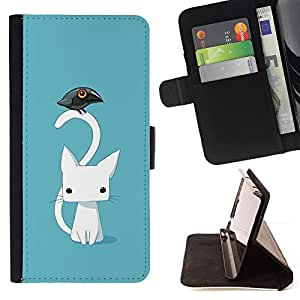 - cute Japanese kitten cat blue raven - - Prima caja de la PU billetera de cuero con ranuras para tarjetas, efectivo desmontable correa para l Funny HouseFOR Apple Iphone 5C