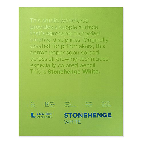 Stonehenge Legion Pad, Cotton Deckle Edge Paper, 11 X 14 inches, White, 15 Sheets (Stonehenge Pad)