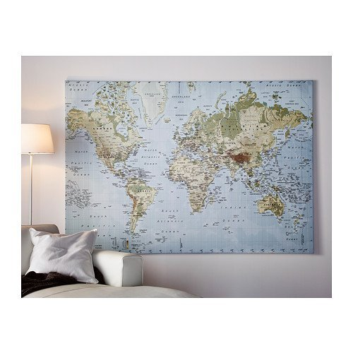amazoncom new ikea premiar world map picture with framecanvas large 55 x 78 inches canvas panels posters prints
