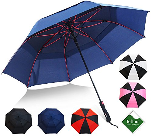 Golf Umbrella by Repel with Triple Layered Reinforced Fiberglass Ribs Adorned in Red Paint, 60 Vented Double Canopy with Teflon Coating, Auto Open (Navy Blue)