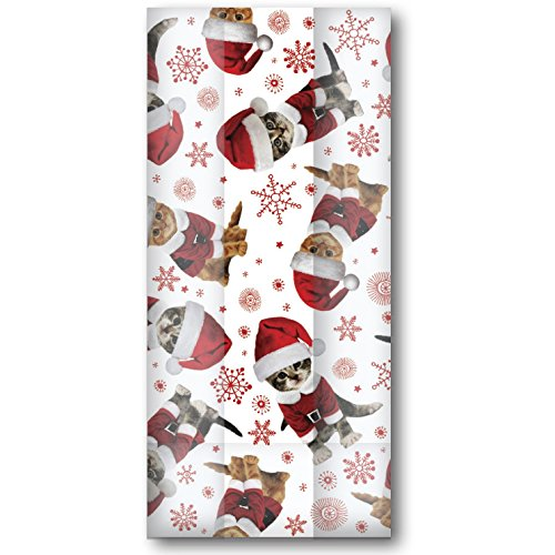 Jillson & Roberts Large Cello Bags with Twist Ties, Kitty Christmas by Jillson Roberts