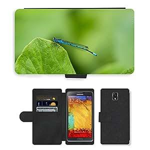 PU LEATHER case coque housse smartphone Flip bag Cover protection // M00111534 Libélula azul Cerrar Insectos Aguas // Samsung Galaxy Note 3 III N9000 N9002 N9005