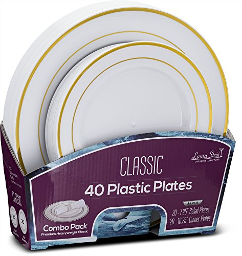 White Plate Dinner Classic (Laura Stein Designer Tableware Set of 40 Party Plates White And Gold Rim Classic Series Includes 20 -7.5'' Salad Plates & 20- 10.75'' Dinner Plates Heavy Duty Plastic Disposable Dishes Combo)