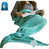 "LAGHCAT All Seasons Mermaid Tail Blanket Knit Crochet and Cool color Mermaid Blanket for Adult,Sleeping Blankets (71""x35.5"", vivid green)"