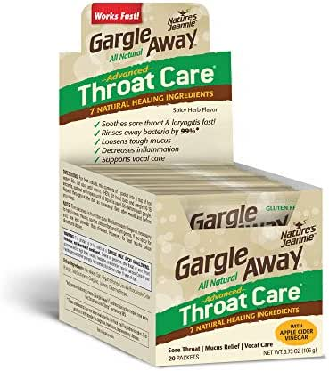 Gargle Away Advanced Throat Care, 20-PK | Natural cold throat remedy | Sore Throat Relief | Laryngitis | Mucus Relief | Voice Remedy | Oral Thrush | LPR | Post Nasal Drip | Sinus Congestion