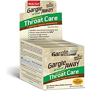 Gargle Away Advanced Throat Care, 20-PK | Natural cold throat remedy | Sore Throat Relief | Laryngitis | Mucus Relief | Voice Remedy | Oral Thrush | LPR | Post Nasal Drip | Sinus Congestion