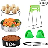 Instant Pot Accessories Set Fits 5, 6, 8 Qt Instant Pot Pressure Cooker with Steamer Basket, Egg Steamer Rack, Non-stick Springform Pan, 1 Pair Oven Mitts, Kitchen Tongs 6 Pieces