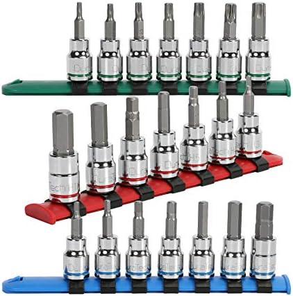 DURATECH 21-Piece Bit Socket Set, 3/8'' Drive Torx Bit Sockets T15-T50 & Hex Bit Sockets 1/8''-3/8'' & 3-10mm, Premium CR-V and S2 Steel Made