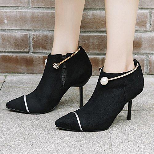 Mee Shoes Damen Stiletto Reißverschluss ankle Boots Schwarz