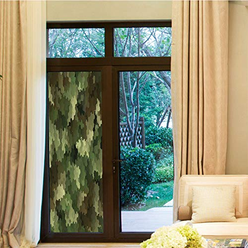 YOLIYANA Non Adhesive Window Film,Camo,for Window Moving Glass Door,Frosted Glass Effect Hexagonal Abstract Being Invisible Woodland,24''x70''