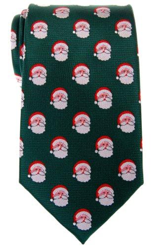Retreez Christmas Santa Claus Woven Microfiber Mens Tie - Green, Christmas Gift