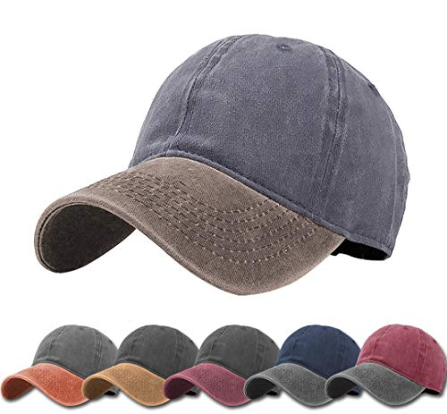 Cap Golf Cotton Twill Panel - Unisex Vintage Washed Distressed Baseball-Cap Twill Adjustable Dad-Hat (CI2-grey+khaki)