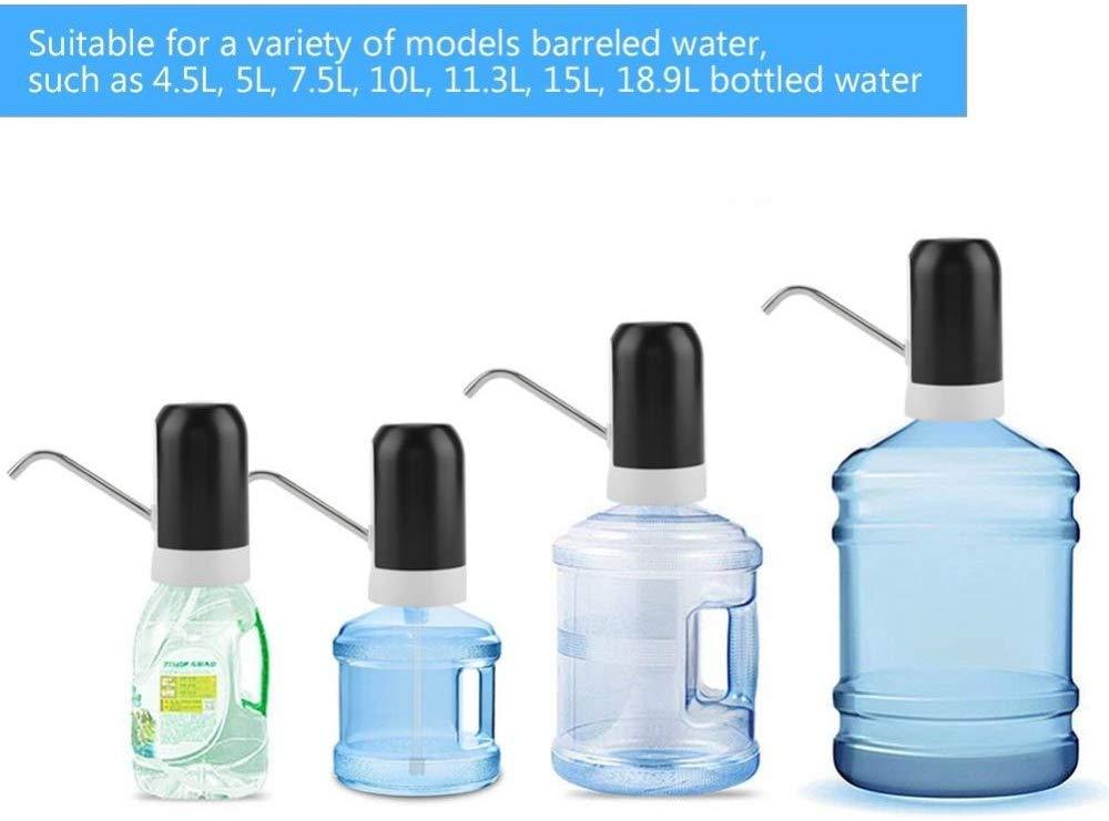 EUPIONEER luce LED pompa per acqua utensile da cucina nero portatile Pompa dellacqua elettrica USB universale Gallon distributore di acqua potabile dispenser per bevande
