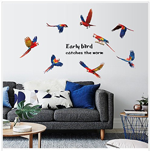 Adarl Colorful Parrots Wall Stickers Wall Murals DIY Posters Modern Removable Wall Art For Home Decor