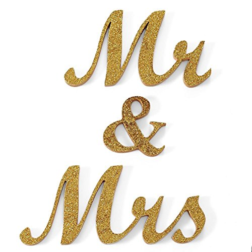 WCAN Gold Glitter Mr and Mrs Letters Sign Freestanding Wedding Gift Sweetheart Table Decor (Tabletop Letter Decor compare prices)