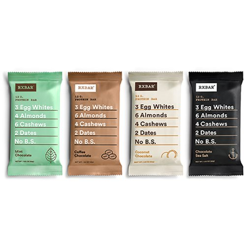 RXBAR Whole Food Protein Bar, Chocolate Variety Pack, 4 Flavors (8 Bars) by RXBAR