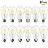 Antique LED Bulb, SHINE HAI 4W (40W Equivalent) ST58 Vintage Edison Light Bulb LED Lighting, 470 Lumen Daylight White 5000K E26 Base, Pack of 12
