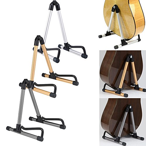 Guitar Stand Folding A-Frame use for Acoustic Electric Guitars Guitar Floor Stand Holder (Silver)