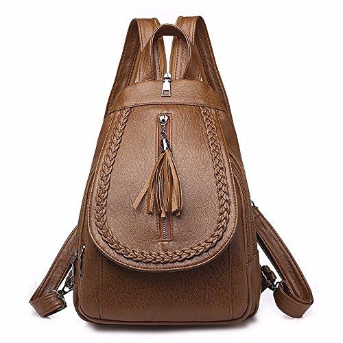 MSZYZ Schultertasche, weibliche Mode, kleiner Rucksack, personalisierte doppelten Zweck Brust Beutel, Reisetasche, Braun/b