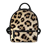 Instantarts Leopard Print PU Leather Mini Backpack Purse for Women Small Shoulder Bag for Girls