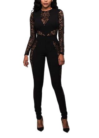 25e66277da Amazon.com  Women s Sexy Long Sleeve Black Lace Jumpsuit