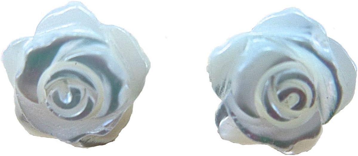 FaithOwl Pendientes de tuerca con flor de nácar rosa en plata de ley 925
