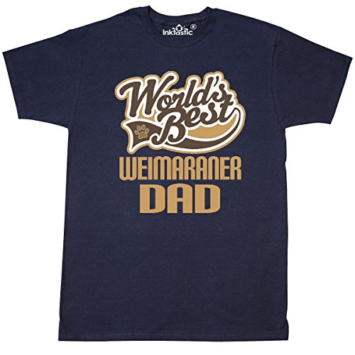 inktastic Weimaraner Dad (Worlds Best) Dog Breed T-Shirt Large Navy Blue