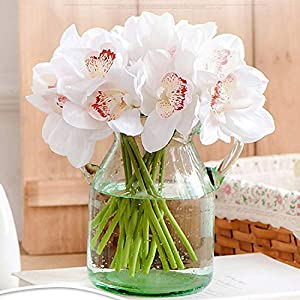 GSD2FF Real Touch cymbidium 7 Heads Table Decoration Flower DIY Wedding Bride Hand Flowers Home Decor Artificial Orchid 33